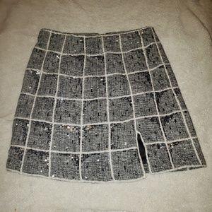 Pink Tartan Sequin Skirt